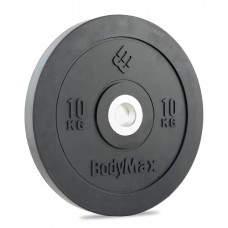 Bodymax Olympic 10kg Rubber Bumper Plates - Black Premium Fully Rubber Encased