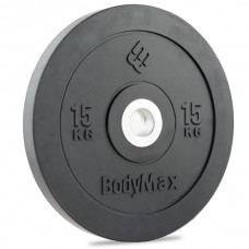 Bodymax Olympic 15kg  Rubber Bumper Plates - Black Premium Fully Rubber Encased