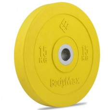 Bodymax Olympic 15kg Rubber Bumper Plates - Coloured Premium Fully Rubber Encased