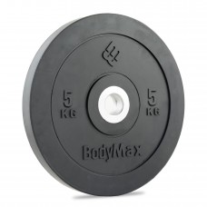 Bodymax Olympic 5kg  Rubber Bumper Plates - Black Premium Fully Rubber Encased